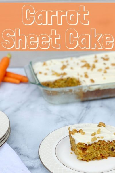 This sheet cake recipe only requires one bowl! It's a Carrot Sheet Cake recipe that serves a big crowd - perfect as an Easter Dessert. #CarrotCake #SheetCake #SheetCakeRecipes #CarrotCakeRecipes #EasterDessertRecipes #SpringDessert #SpringCake #CakeRecipes