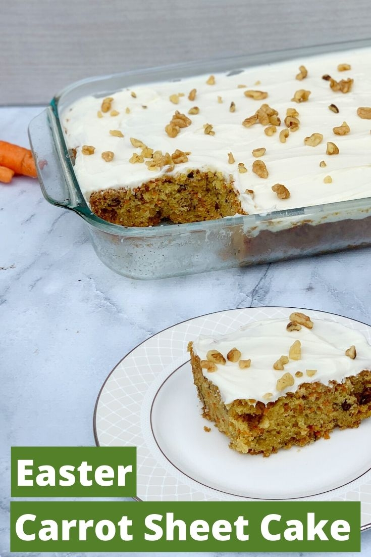 Serve many guests with this delicious carrot sheet cake recipe! It's the perfect easy Easter dessert recipe and only requires one bowl. Just mix and bake! #CarrotCake #EasyCarrotCake #CarrotSheetCake #EasterDessertRecipes #EasyEasterDessertRecipes #EasterIdeas #CarrotCakeRecipes