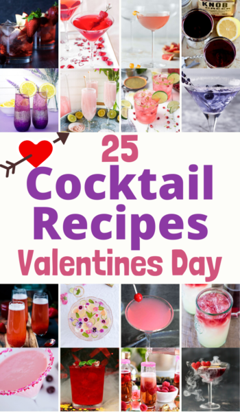 Celebrate with fun and flirty Valentines Day Cocktails that your sweetheart will certainly enjoy too! #ValentinesDay #CocktailRecipes #RedCocktails #PinkCocktails #PurpleCocktails #MartiniRecipes #GalentinesDay #ValentinesDayCocktails