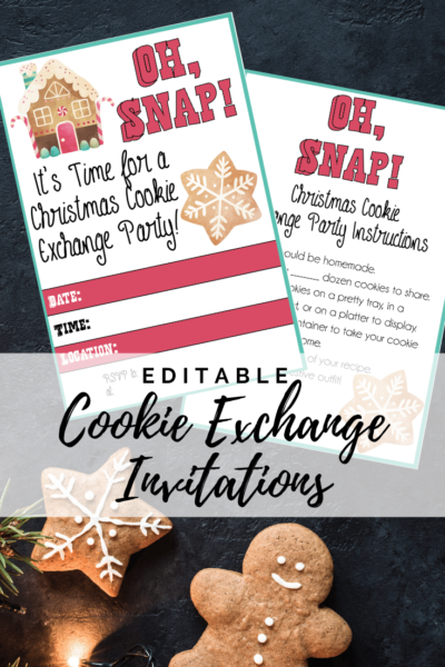 Print your FREE cookie exchange party invites! Just download, save and print. You can even edit in your own party information. Keep your holiday cookie swap easy! #CookieExchange #PrintableInvites #Christmas #CookieSwap #ChristmasParty #PartyInvitation #ChristmasCookies #ChristmasEntertaining