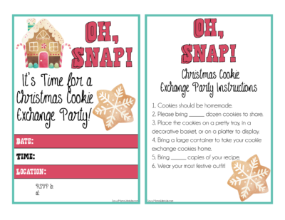 Cookie Exchange Party Invites, Printable Cookie Exchange Invites, Printable Cookie Swap Invites