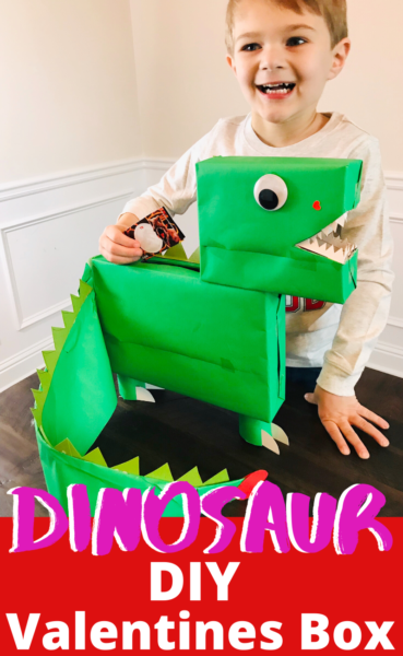 This DIY Dinosaur Valentines Day Box is easy to make and comes together in 5 steps. Perfect for the little dinosaur fan in your life! #ValentinesDay #ValentinesBox #ValentinesDayCraft #Dinosaur #DinosaurCraft #ValentinesBoxCraft #KidsCraftIdeas