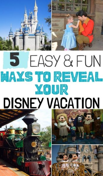 Keeping your Disney vacation a surprise? Here's how to reveal a Disney vacation to kids! They're fun, easy and creative ways that'll get them excited for the big day. #Disney #DisneyVacation #DisneyWorld #DisneyWorldPlanning #DisneyWorldTips #WaltDisneyWorldPlanning #FamilyTravel