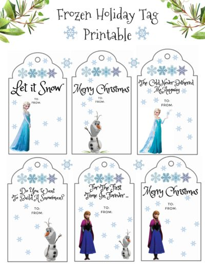 Frozen Gift Tags, Printable Gift Tags, Printable Disney Gift Tags, Printable Christmas Gift Tags