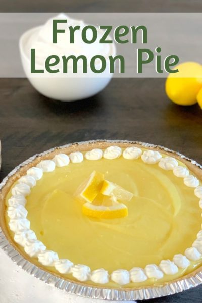 This Frozen Lemon Pie is a classic spring dessert recipe. However, it's super easy and only requires 4 ingredients to make. #Easter #EasterDessert #SpringDessert #SummerDessert #NoBakePie #PieRecipe
