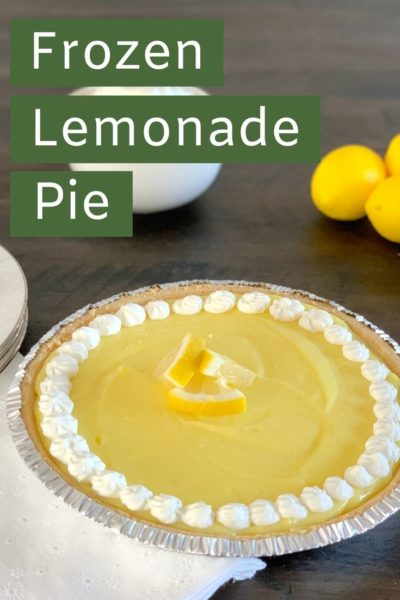 This Frozen Lemon Pie can't be any easier. Made with just 4 ingredients, it's sweet & tart - perfect for any spring or summer gathering. #EasterDessert #SpringDessert #EasyDessertRecipes #NoBakePie #PieRecipes #SummerDessertRecipes #LemonPie #LemonadePie #FrozenPie