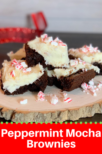 These Peppermint Mocha Brownies start with a box of brownie mix, but you add coffee and make a fresh peppermint buttercream frosting to top them with! They're an easy Christmas treat idea. #Christmas #ChristmasBaking #Brownies #Peppermint #PeppermintMocha #ChristmasBrownies #CookieExchange #ChristmasBakingIdeas #ChristmasRecipe