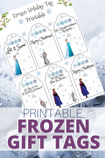 Print these fun Frozen inspired gift tags for holiday gift wrapping! Just download, save and print. #Printable #Frozen #Frozen2 #Disney #GiftTags #Christmas #ChristmasGiftWrap #Wrapping #GiftWrappingIdeas #ChristmasGiftTags