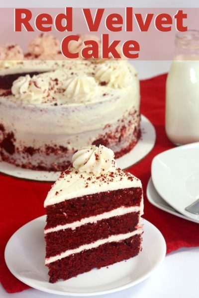 This layered red velvet cake recipe is a southern dessert that has a hint of cocoa and a cream cheese frosting. #ChristmasDessert #ChristmasBaking #ChristmasCake #CakeRecipe #RedVelvet #ValentinesDay #ValentinesDayDessert #LayaredCake