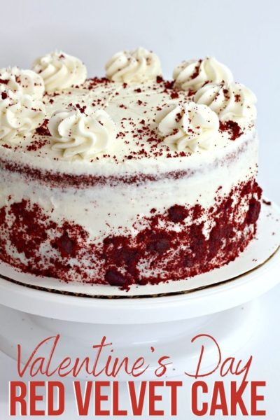 Bake this red velvet cake for your Valentines Day sweetheart! This layered cake recipe has a sweet cocoa flavor and a cream cheese frosting. #ValentinesDay #ValentinesDayDessert #ValentinesDayDessert #CakeRecipe #LayeredCake #CakeRecipe