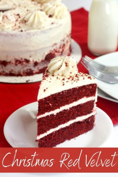 This show stopping Christmas cake recipe is a southern tradition. Make this layered red velvet cake as the centerpiece to your holiday meal. #Christmas #ChristmasDessert #ChristmasCakeRecipe #RedVelvet #RedVelvetCake