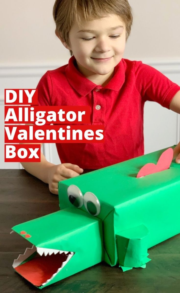 Get craft and make this this fun Alligator Valentines Box with your little reptile fan. The step-by-step instructions will help you easily create this fun Valentines Day Craft. #ValentinesDay #ValentinesDayCraft #KidsCrafts #KidCraftIdeas #ValentinesDayBox #DIY #AlligatorCrafts