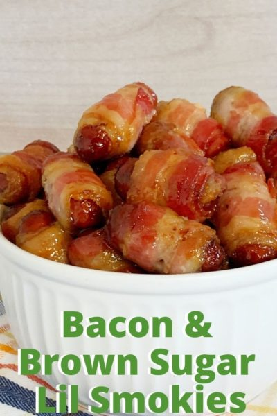 Sweet and savory, these bacon wrapped brown sugar lil smokies are a crowd favorite. They're an easy appetizer recipe - perfect for the big game! #SuperBowl #SuperBowlRecipes #Appetizer #EasyAppetizer #EasyAppetizerRecipes #GameDayRecipes