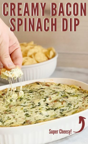 Creamy and cheesy, everyone loves this spinach dip with bacon recipe! It has three different types of cheese and can be made ahead of time. It's perfect for a Super Bowl Party, Game Day or any get together! #EasyAppetizerRecipe #SuperBowlDips #GameDayRecipes #SpinachDipRecipe #EasyDipRecipes #SuperBowlAppetizers