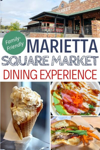Where to eat in Marietta, Georgia: Check out everything you need to know about the Marietta Square Market. This popular new dining hall is a family-friendly destination that has something for everyone. #Marietta #MariettaGA #FamilyTravel #Atlanta