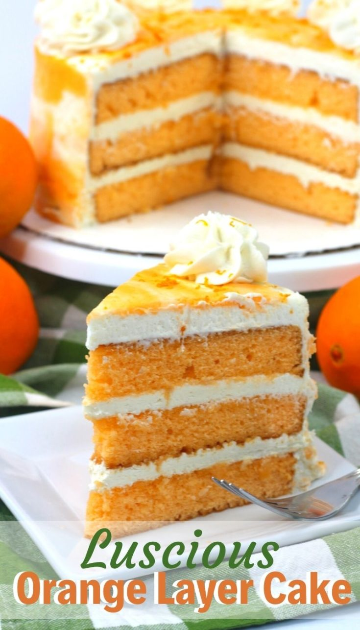 Light, delicate and delicious, this layered orange cake is the perfect spring dessert option. You'll love the fresh citrus flavor and buttercream frosting. #OrangeCake #Orange #LayeredCake #SpringDessert #EasterDessert #EasterCake