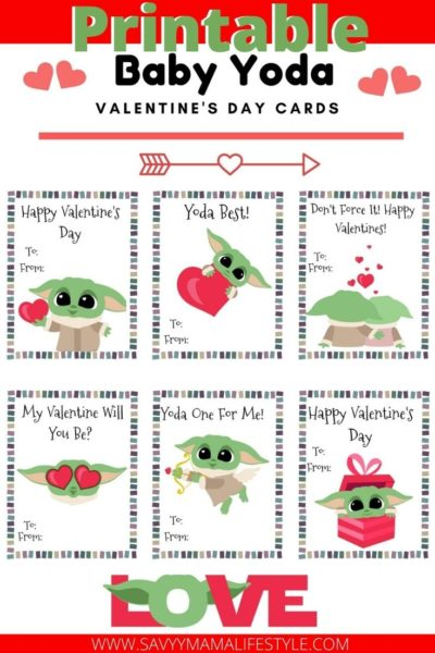Print these FREE Baby Yoda Printable Disney Valentines Day Cards for the kids! Save time and money by printing these Star Wars Valentines. #ValentinesDayCards #PrintableValentines #ValentinesDay #KidsValentinesDay #BabyYoda #StarWars #StarWarsValentines