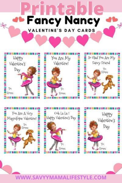 Print these FREE Fancy Nancy Disney Valentines Day Cards! Save time and money by printing them from home. #ValentinesDay #DisneyJunior #PrintableValentines #ValentinesDayCards #KidsValentinesDayCards #FancyNancy #FancyNancyValentinesDayCards