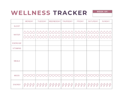Wellness Tracker, Printable Wellness Tracker, Fitness Goals, Health, Wellness Goals
