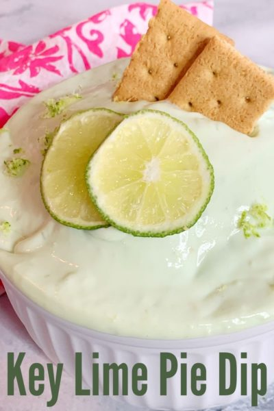 This refreshing key lime pie dip recipe is an easy spring or summer dessert. It's made with greek yogurt, fresh lime, cream cheese and lime zest. Serve it with graham crackers for party guests! #KeyLimePieDip #KeyLimeRecipes #SummerRecipes #EasyDessertRecipes #DessertDips #DipRecipes #SpringDessertRecipes #EasterRecipes