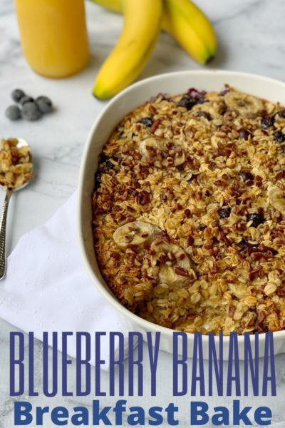 Kick off your mornings with this delicious Blueberry Banana Breakfast Bake. It can be a make-ahead breakfast casserole too. Pecan pieces add a nice crunch against the fruit and it can be made with your favorite non-dairy milk as well. #Breakfast #Brunch #Blueberry #Banana #MakeAheadBreakfastCasserole #Oatmeal #OatmealBake