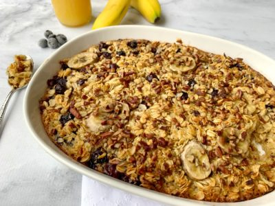 Blueberry Banana Oatmeal Bake, Oatmeal Casserole, Make Ahead Breakfast Casserole