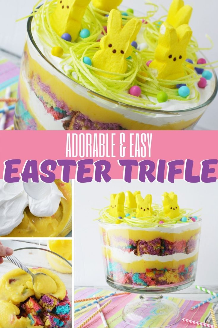 Need an easy Easter dessert idea? This Easter trifle is both cute and easy to make! It's layers of colorful cake, cool whip and pudding. Then it's topped with Easter grass and Peeps. It makes a perfect Easter centerpiece too. #Easter #EasterDessert #EasterTrifle #TrifleRecipes #PeepRecipes #EasterCakeRecipes #SpringDessertRecipes