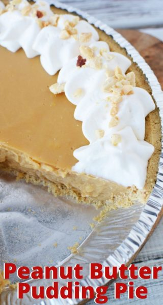 This Peanut Butter Pudding Pie recipe is decadent without any baking! The center is creamy and rich, with a simple store-bought pie crust. It's the perfect spring and summer dessert recipe. #PeanutButterDessertRecipes #PeanutButterPie #NoBakePieRecipes #PuddingRecipes #EasyPieRecipes