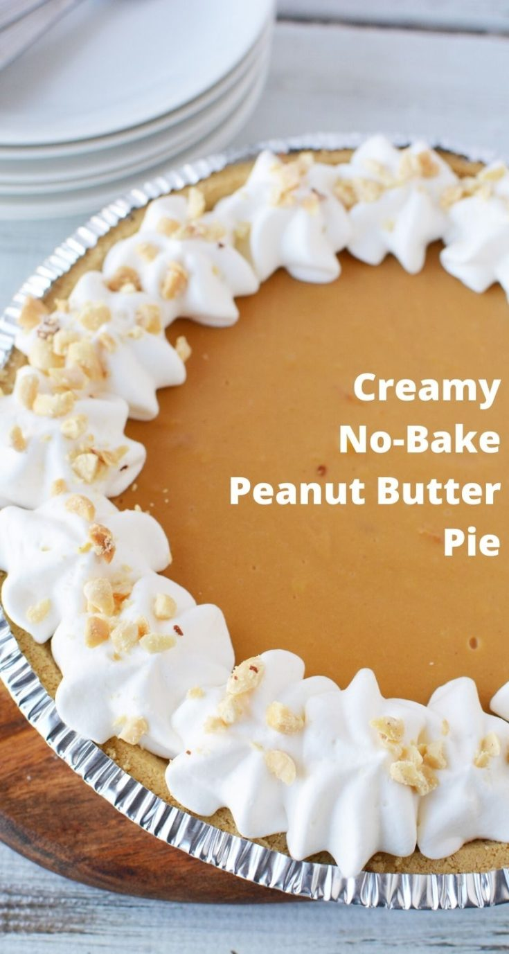 Perfect as a spring or summer dessert, this no-bake peanut butter pudding pie recipe is a big hit! It's got a smooth and creamy center and you just throw it in a store-bought crust before refrigerating. If you're a peanut butter fan, you've got to try it. #PeanutButterPie #NoBakePieRecipes #PuddingRecipes #SummerDessertRecipes #PeanutButterRecipes