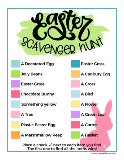 Easter Scavenger Hunt, Easter Games For Kids, Printable Easter Kids Activities