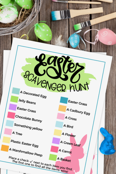 This printable Easter Scavenger Hunt allows the kids to have fun both inside and your own backyard! #Easter #Spring #Printable #EasterPrintable #ScavengerHunt #KidsGames