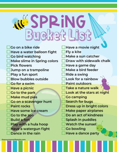 Free Spring Bucket List Printable