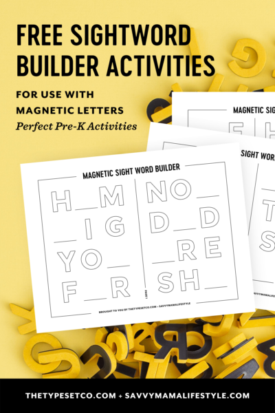 Print your FREE Kindergarten Sight Word worksheets that can be used alongside magnetic letters! #Kindergarten #Homeschool #Printables #SchoolWorksheets