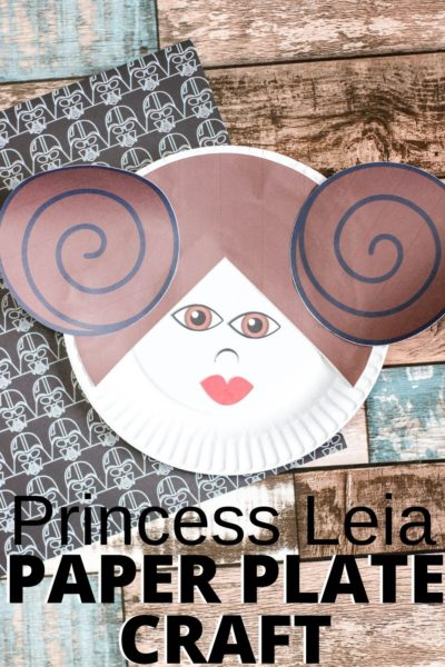 Celebrate Star Wars with this fun Princess Leia Paper Plate Craft activity. It only requires construction paper, glue, scissors and markers. Just use the free templates to make! #StarWars #StarWarsCrafts #KidsCrafts #KidsBoredomBusters #CraftIdeasForKids #PrincessLeia #DisneyPrincess