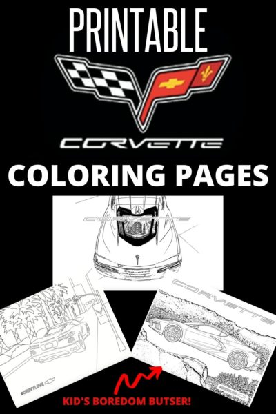 Print your FREE Corvette Coloring Pages! There are six designs total and perfect for youngest of Chevy fans. #Corvette #ColoringPages #KidsBoredomBuster #FreeColoringPages #Chevrolet