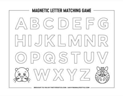 Printable ABC Worksheet, Magnetic Matching
