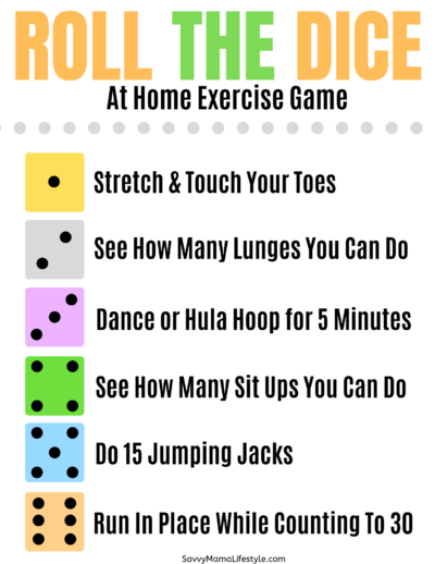 Kids Roll The Dice Game, Exercise Game For Kids