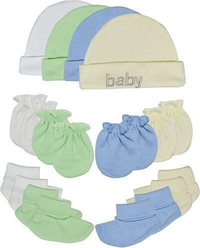Newborn baby hats and mitten gift set