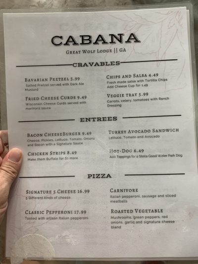 Cabana Menu Items To Order At Great Wolf