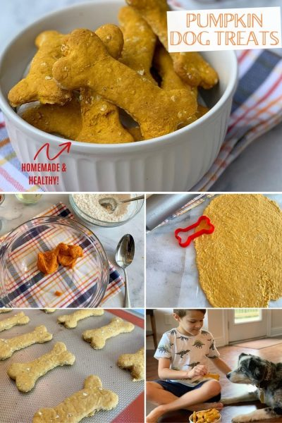 These homemade pumpkin dog treats are easy and smell amazing. They're packed with healthy ingredients that your dog will love too! #DogTreats #HomemadeDogTreats #HomemadeDogBones #DogBones #DogRecipes #FallBaking