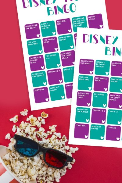 Check out this FREE Printable Disney Movie Bingo game to play as a family! It's the perfect excuse for some family together time. #DisneyMovies #DisneyBingo #BingoCards