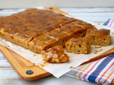 Apple Blondies Recipe With Maple Glaze Topping