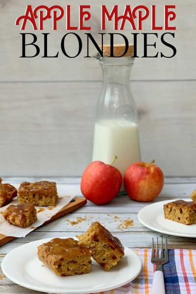 This Apple Blondies recipe has a unique maple glaze topping, which makes them so irresistible! Made with fresh apple, they're the perfect fall treat. #FallDessert #Blondies #AppleRecipe #AppleBlondies