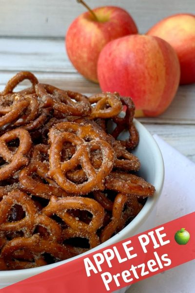 If you love apple pie, you've got to try this snack! These Apple Pie Spiced Pretzels are sweet and salty, then baked to snacking perfection. #Pretzels #ApplePie #AppleRecipe #FallSnackRecipe