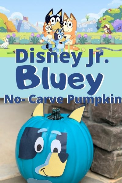 "How to make a no-carve pumpkin that's inspired by the animated show ""Bluey"" on Disney Junior! With step-by-step instructions and guide. #NoCarvePumpkin #DisneyJunior #Bluey #KidsPumpkinIdeas #PumpkinDecorating"