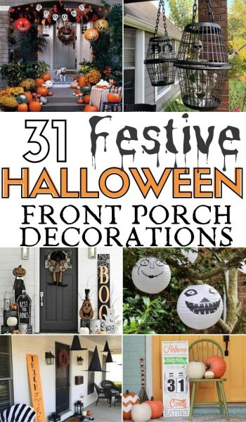 The BEST Halloween front porch decorating ideas in one spot! From DIY to easy buys, you'll find everything you need for a festive Halloween look. #Halloween #HalloweenFrontPorch #HallowenDecor