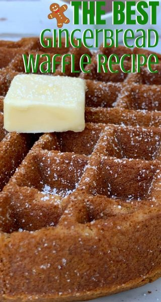 If you love Belgian waffles, you've got to try this Christmas breakfast twist! These Gingerbread Waffles are full of flavor and bake with a slightly crunchy exterior. They're the perfect festive brunch recipe. #ChristmasBreakfast #ChristmasRecipe #Gingerbread #GingerbreadWaffles