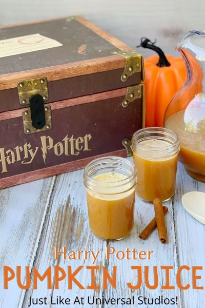 This non-alcoholic pumpkin juice recipe is just like what they drink in Harry Potter Books (and serve at Universal Studios parks)! It's sweet and savory with fall flavors - just blended and serve. #HarryPotter #HalloweenDrinks #HalloweenPartyIdeas #PumpkinJuice