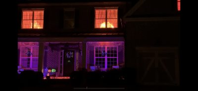 How to make Halloween fake fire window decor