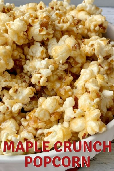 Crunchy and sweet, this homemade Maple Popcorn recipe is an addictive fall snack that everyone enjoys. #Popcorn #SeasonedPopcorn #SnackRecipe #FallSnack